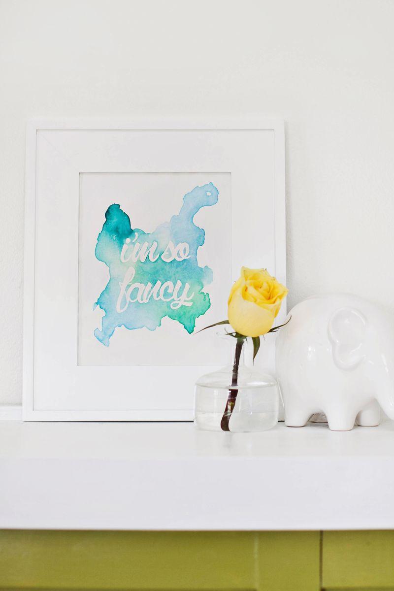 Laura Gummerman and Janae Hardy via A Beautiful Mess DIY watercolor phrase art