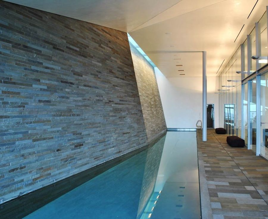 Lap pools are designed specifically for exercise and may be found inside the home.