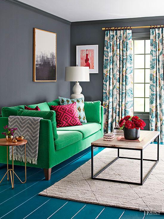 green sofa gray walls baci living room
