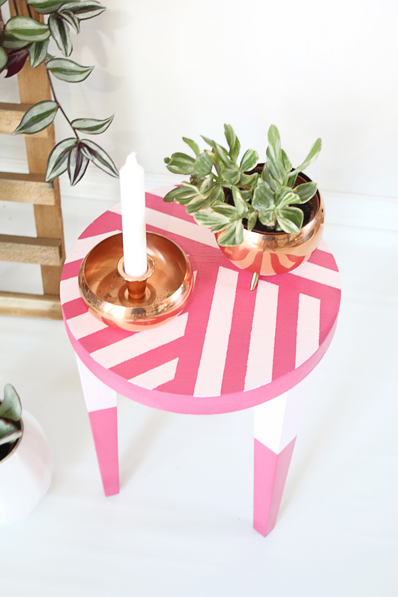 Hello Lidy DIY pink painted stool makeover