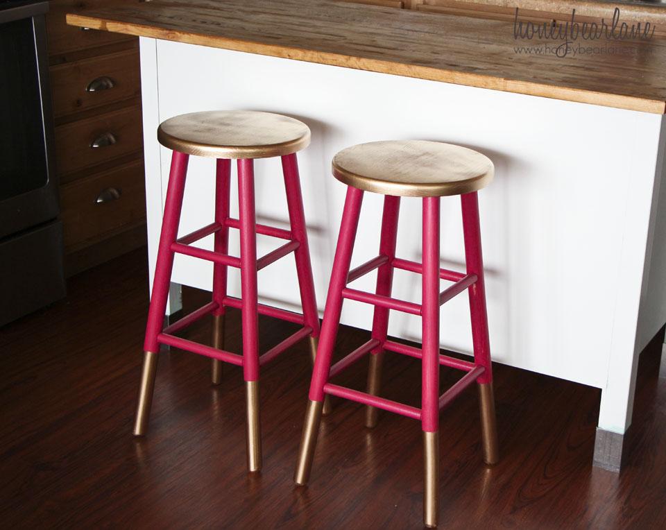 HoneyBear Lane DIY gold dipped stools