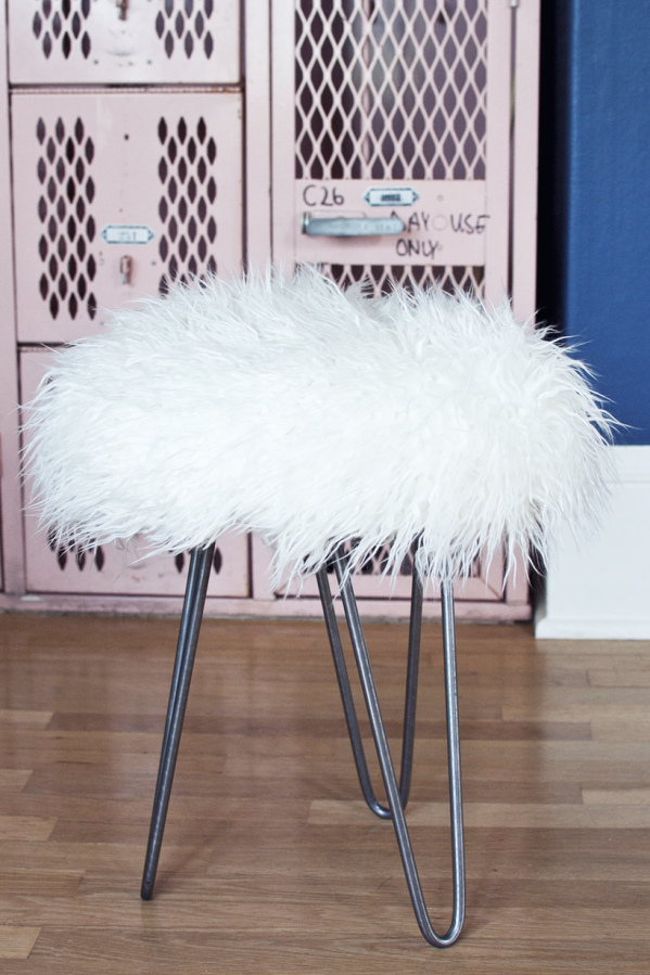 Transient Expression DIY faux fur stool