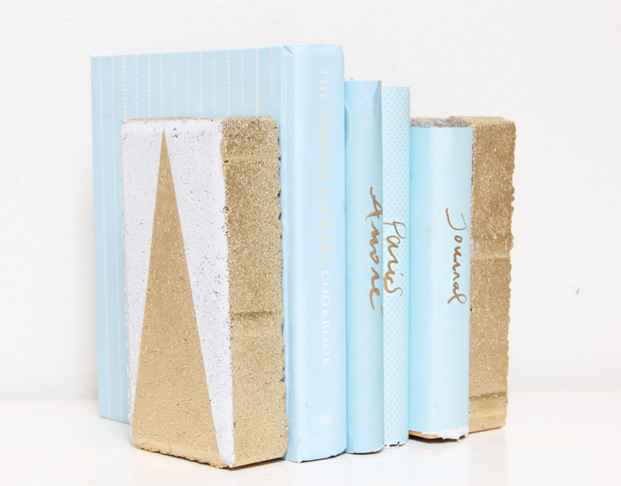 A Bubbly Life DIY gold geometric bookends