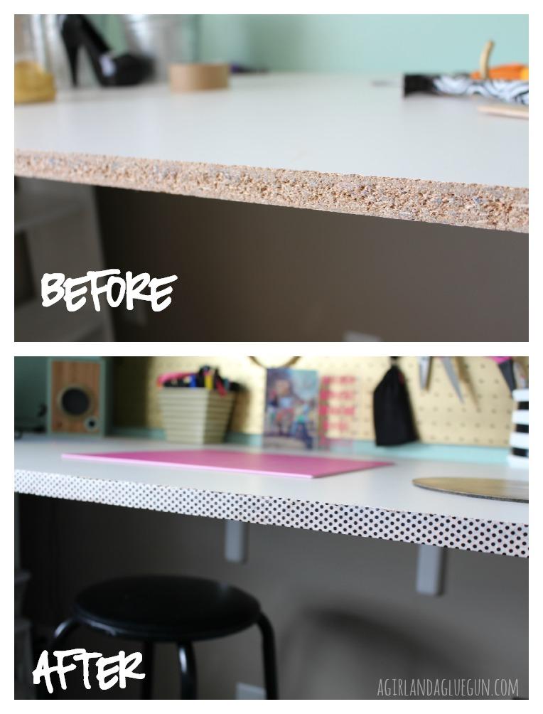 A Girl and a Glue Gun DIY washi tape desk