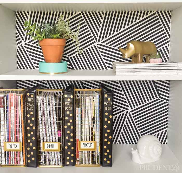 A Prudent Life DIY fabric bookcase back