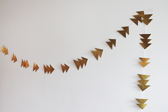 Almost Makes Perfect DIY gold triangle garland