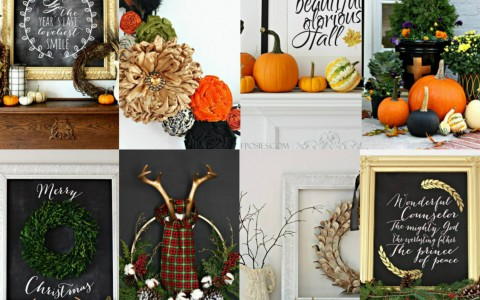 Fall and Christmas Decor via Nest of Posies