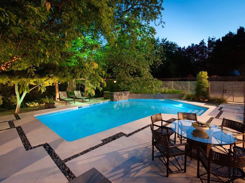 Before and after a modern backyard garden and pool for Pool design inc