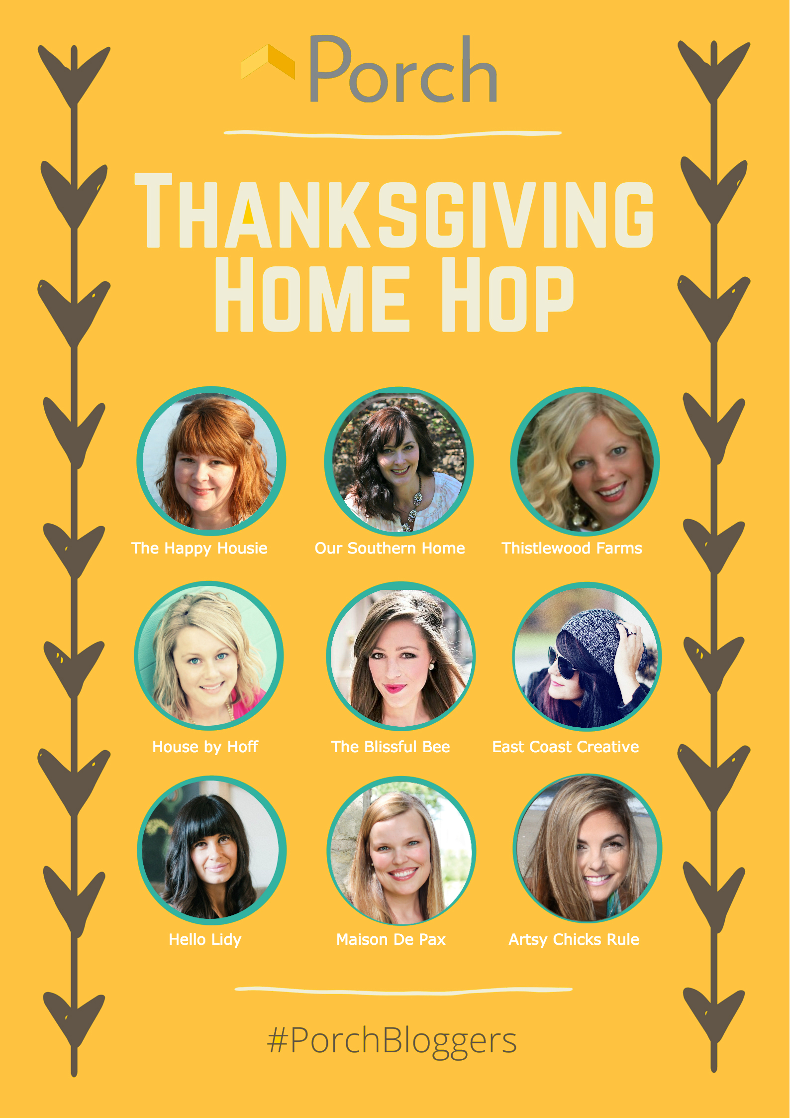 porch thanksgiving home hop bloggers porch gold
