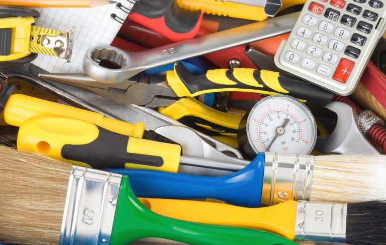 tools and construction equipment in toolbox