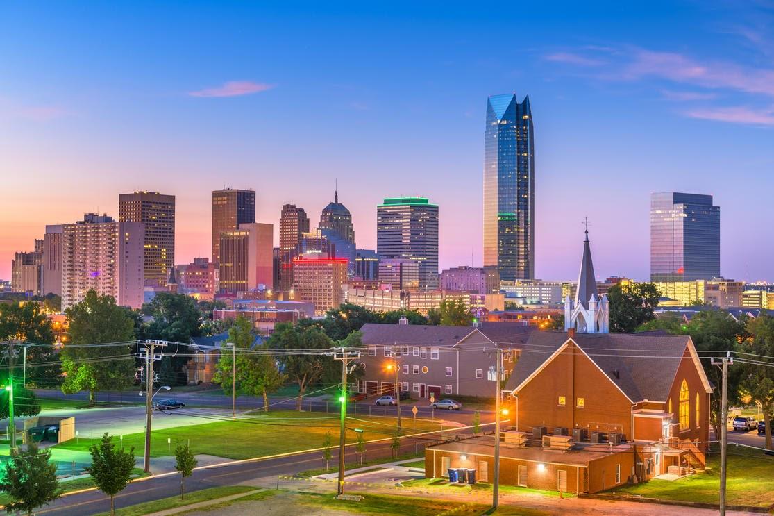 Downtown skyline at twilight. Oklahoma City, Oklahoma, USA