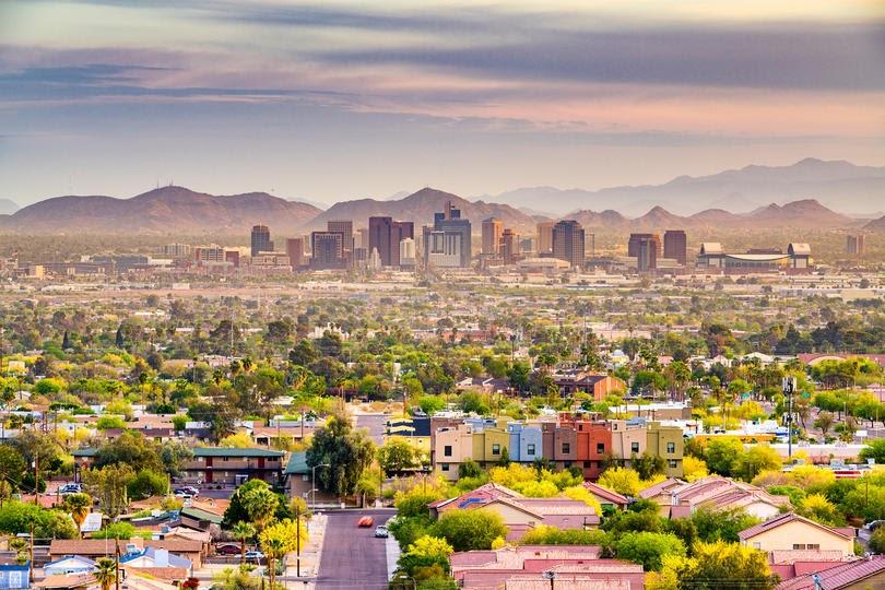 Downtown cityscape at dusk. Phoenix, Arizona, USA